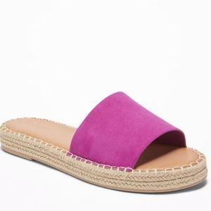 Pink Faux-Suede Slide Espadrille Sandals